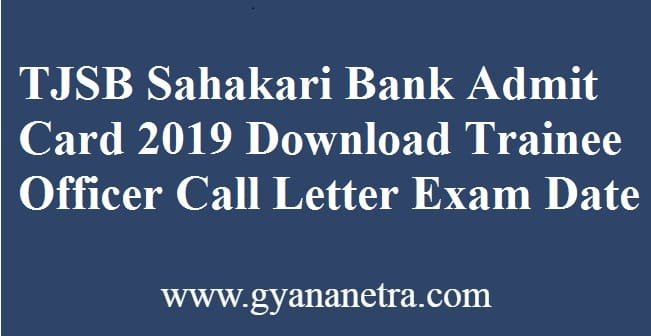 TJSB Sahakari Bank Admit Card