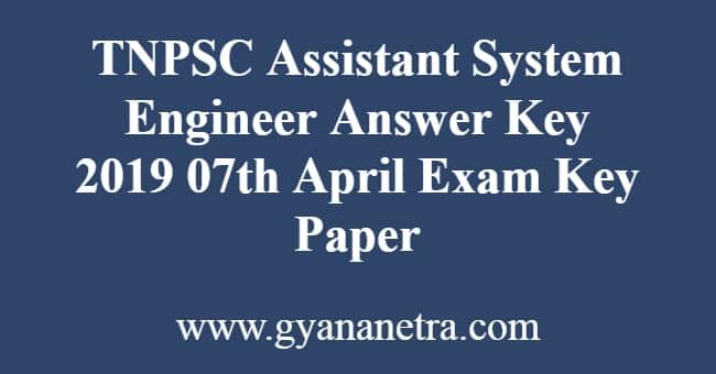 TNPSC Assistant System Engineer Answer Key
