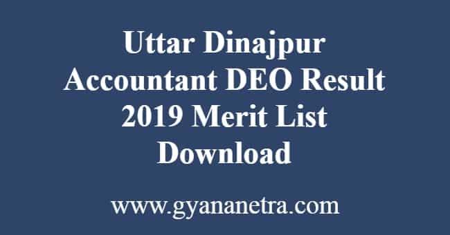 Uttar Dinajpur Accountant DEO Result