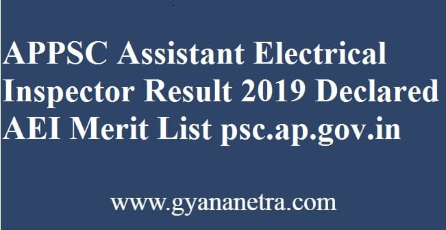 APPSC Assistant Electrical Inspector Result