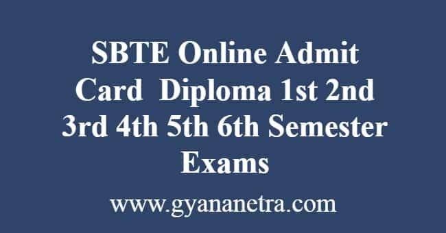 SBTE Online Admit Card