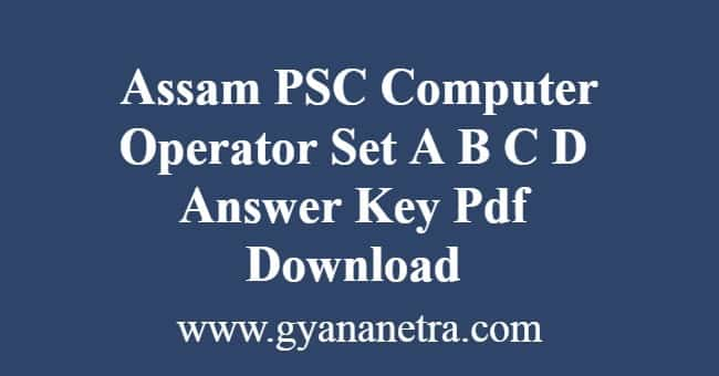 APSC Computer Operator Answer Key
