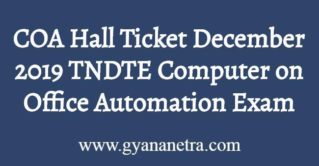 COA Hall Ticket December 2019