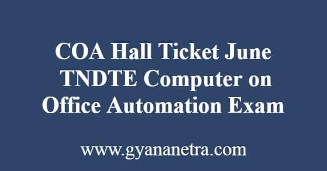 COA Hall Ticket June 2019