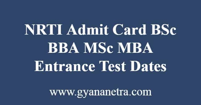 NRTI Admit Card