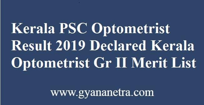 Kerala PSC Optometrist Result
