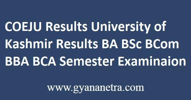 COEJU Results University of Kashmir
