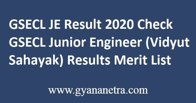 GSECL JE Result