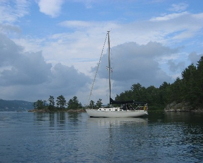 "Photo: Endeavour sailboat ""About Time"" in Baiefine, Ontario. Credit: L. Borre."