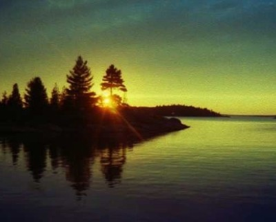 Photo: Sunset view from anchorage at Croker Island, North Channel, Ontario. Credit: L. Borre.