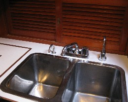 Photo: Tayana 37 galley sink refit. Credit: Lisa Borre.