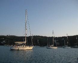 Photo: The popular anchorage in Lakka, Paxos. Credit: Lisa Borre.
