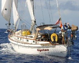 Photo: Gyatso under sail during our Atlantic Crossing on the leg from Antigua to Bermuda. Photo courtesy of s/y Bobo.