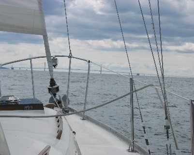 Photo: Approaching the Mackinac Bridge, Michigan. Credit: L. Borre.