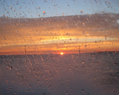 Photo: Sunset from the window of the fast ferry from Mackinac Island. Credit: L. Borre.