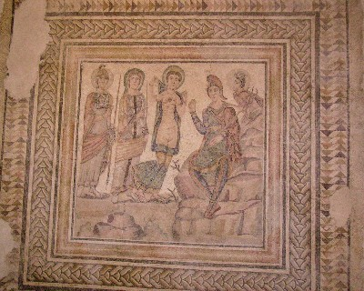 Photo: A Roman mosaic on display at the museum in Malaga. Credit: Lisa Borre.
