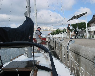 Photo: Almost finished locking through. Credit: L. Borre.