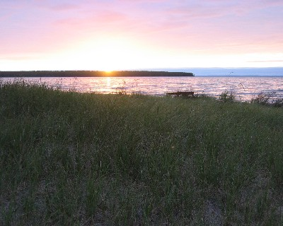 Photo: Sunset at a beach near the Apostle Islands, Wisconsin. Credit: L. Borre.
