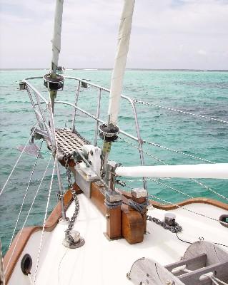 Photo: Tayana 37 Gyatso at anchor in Tobago Cay, The Grenadines. Credit: Lisa Borre.