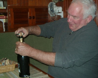 Photo: Opening prosecco. Credit: Lisa Borre.