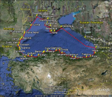 Image: map of Gyatso's sailing voyage around the Black Sea in 2010. Credit: Lisa Borre with Google maps.