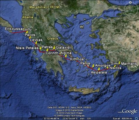 Image: Map of cruising in Greece 2009. Credit: L. Borre.
