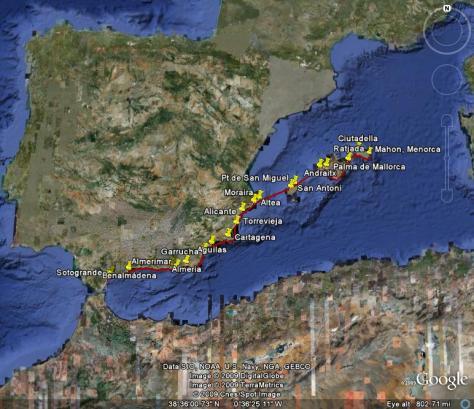 Image: Map of Gyatso's voyage through Mediterranean Spain in 2008. Credit: Lisa Borre.