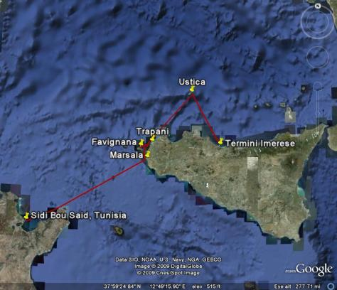 Image: Map of Leg 3: Western Sicily, Ustica and the Egadi Islands. Credit: L. Borre.