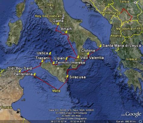 Image: Map of Gyatso's 2009 cruising season in the Med.