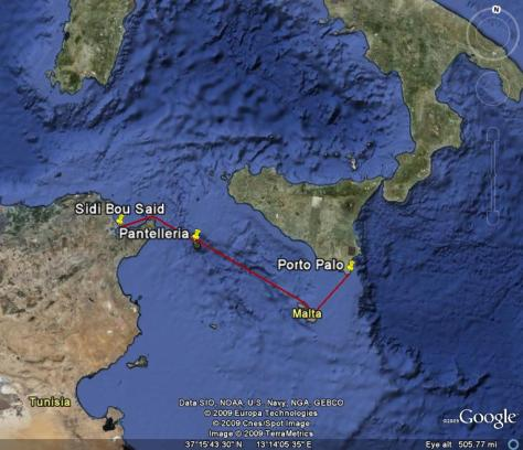 Image: Map of our voyage from Tunisa to Pantelleria, Italy and then Malta and Porto Palo, Sicily. Credit: Lisa Borre.