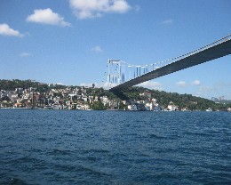 Photo: Bridge over the Bosphorus near Istanbul, Turkey.