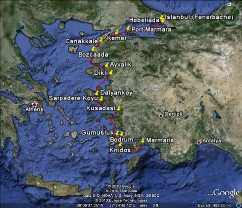 Photo: Map of Gyatso voyage along the west coast of Turkey.