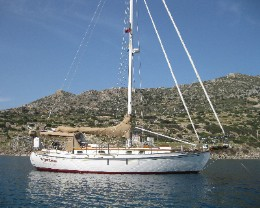 Photo: s/y Gyatso at anchor in Turkey. Credit: L.Borre
