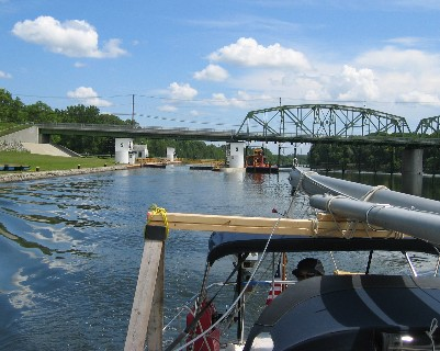 Photo: Cleared through a lock on the Erie Canal. Credit: L. Borre. Credit: L. Borre.