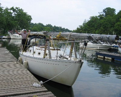 Photo: Sailboat ready to transit the Erie Canal. Credit: L. Borre.