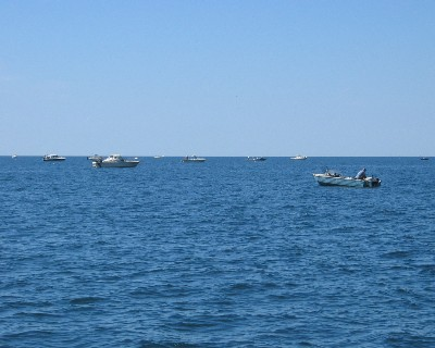 Photo: A small fleet of sport fishers on Lake Ontario. Credit: L.Borre.