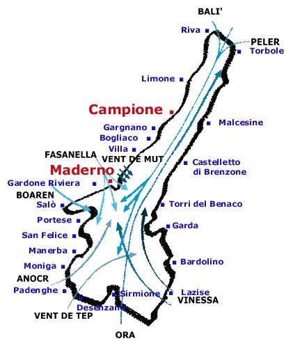 Mappa dei venti del lago di Garda