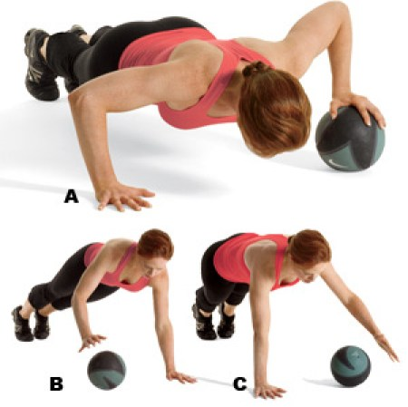 medicine ball rolling-pushup