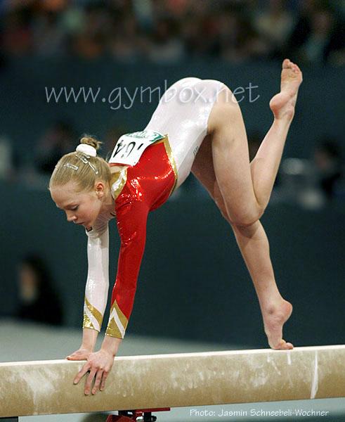 Anja Brinker on balance beam.