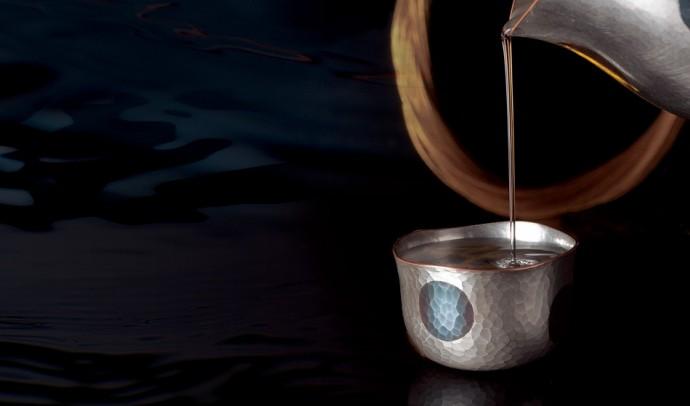 E50-0101 Sake cup Navy blue dots (60cc)