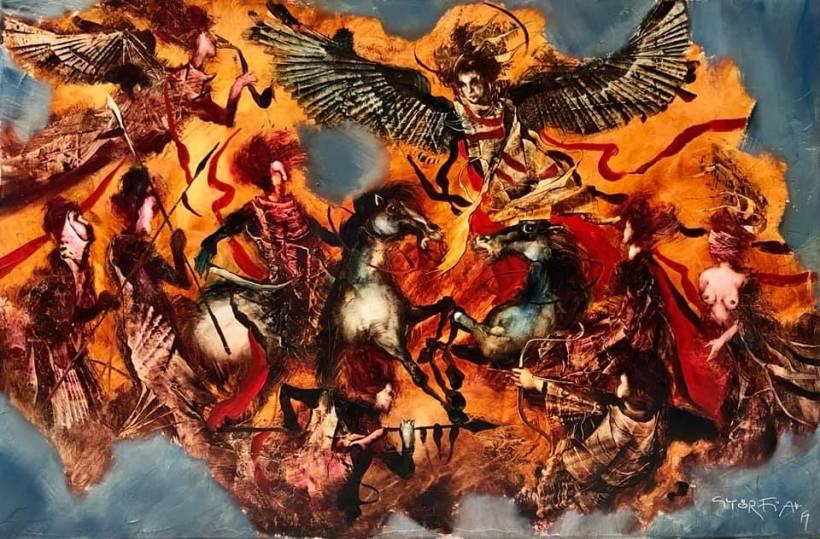 Angyalok csatája 90x60 cm, olaj, vászon - Angel's battle 90x60 cm, oil on canvas