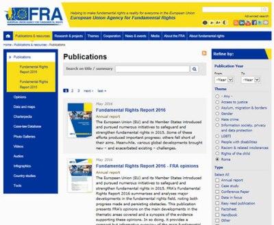 Screenshot of FRA website publications page
