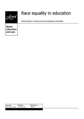 thumbnail of report cover for 'Race equality in education' by Ofsted