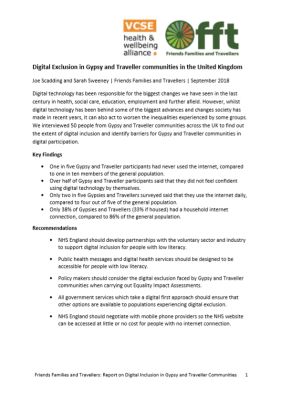 Thumbnail of report cover 'Digital Exclusion in Gypsy and Traveller communities in the United Kingdom'