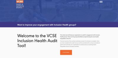Picture of VCSE Inclusion Health Audit Tool Website