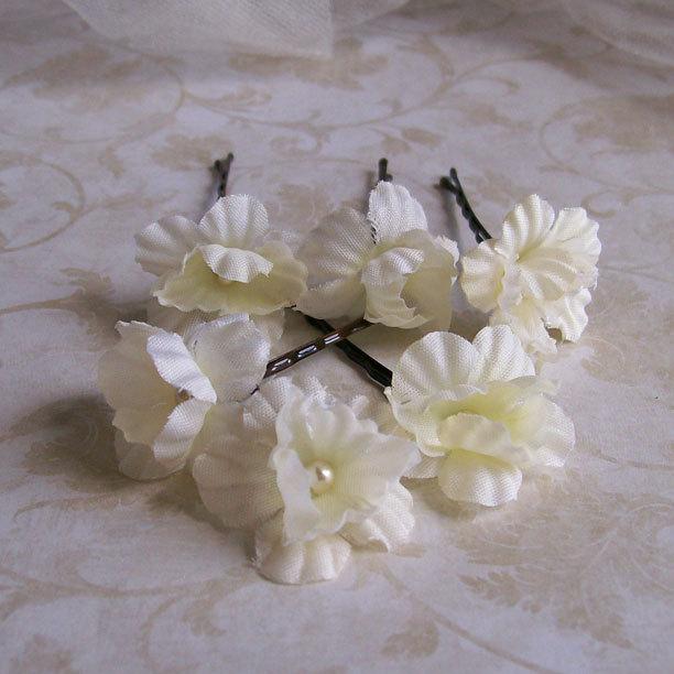 Ivory Mini Flower Hair Pins Set Of Six Flower Bobby Pins