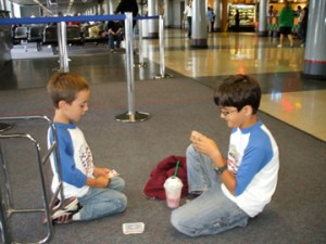 playing cards in the airport