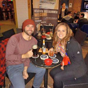 Grant and Rachel drinking German beer in Düsseldorf