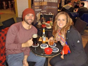 Grant and Rachel drinking German beer in Düsseldorf