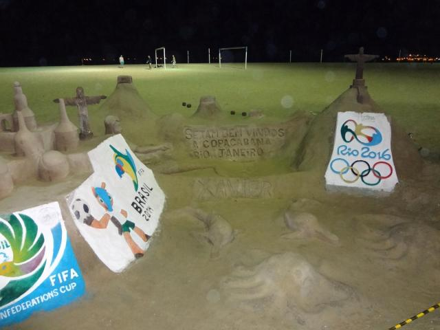 rio getting ready for the olympics sandcastle